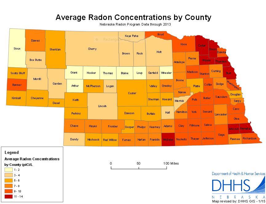 Radon Concentration Map by Nebraska County