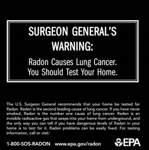 US Surgeon General's Warning and Letter on Radon explains how radon is a leading cause of lung cancer.